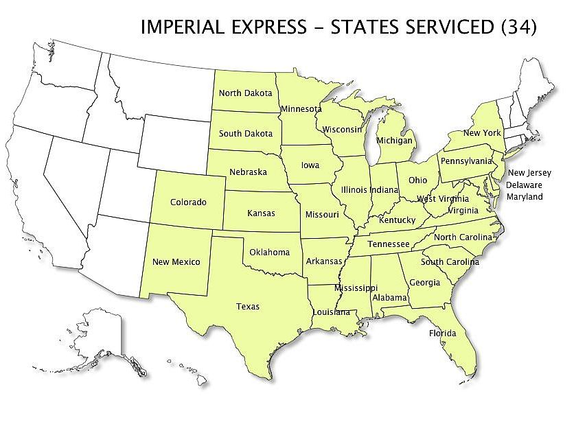Imperial Express States Serviced Map